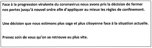 Fermeture pour Cause Coronavirus